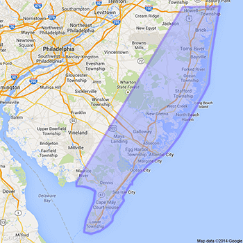 jersey shore highlighted on map