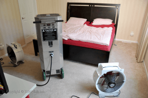 bed bug heat treatment devices in a bedroom