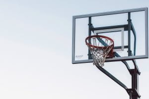 basketball hoop with gray sky background